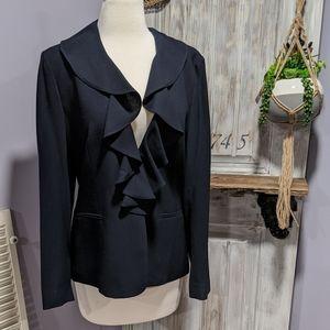 Lauren Ralph Lauren navy ruffled blazer